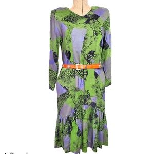 Vintage green and purple dress